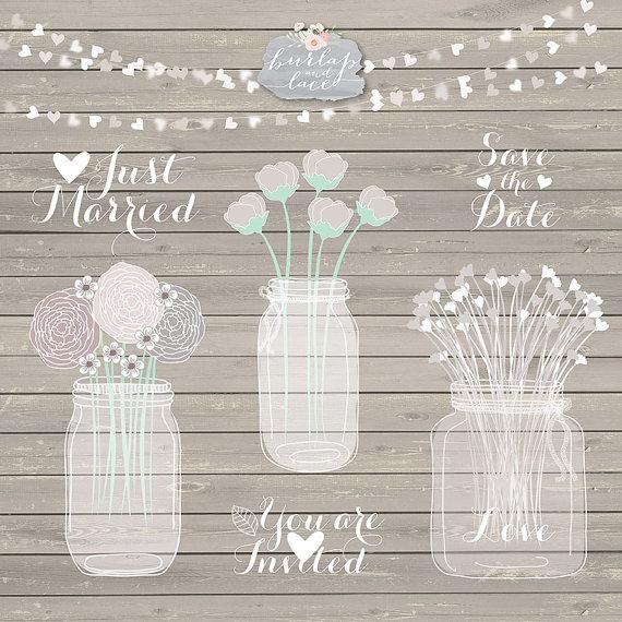 Hand draw Mason Jar Wedding Invitation clipart, Rustic Mason Jar.