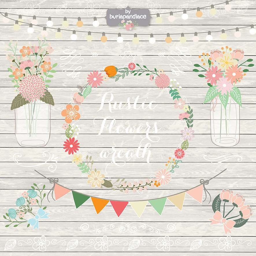Shabby Chic Wedding Clipart.