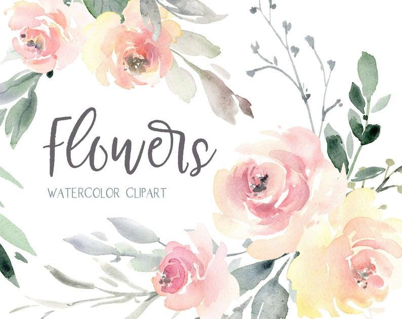Watercolor Floral Clipart Wedding Free Commercial Use Pink Light  Watercolour Flowers Bouquets Seamless Pattern Digital Download Clip Art PNG.