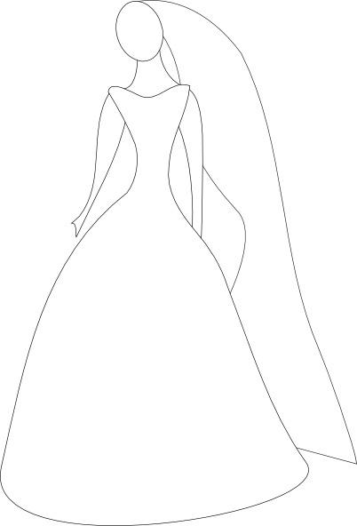Bride In Wedding Dress clip art Free vector in Open office.