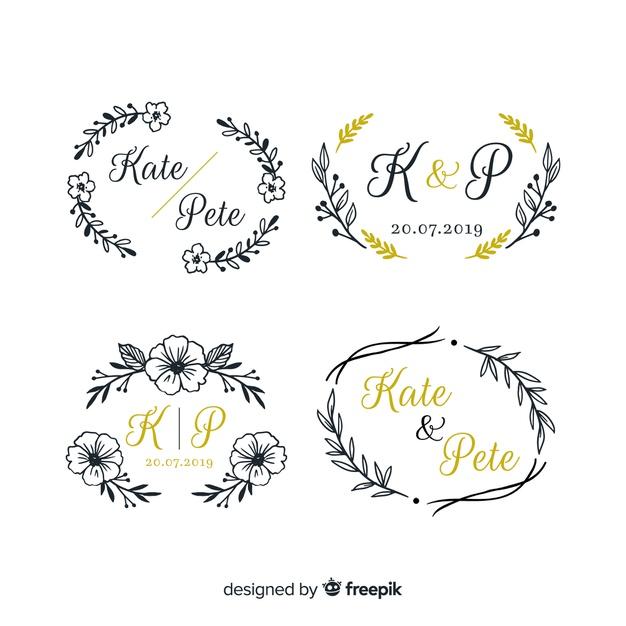 Wedding monogram logo templates collection Vector.