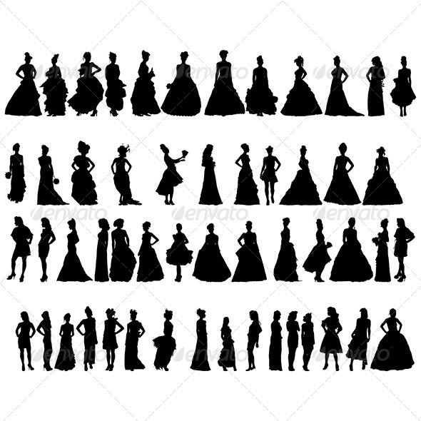 Wedding Party Silhouette Vector.