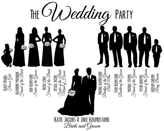 Free Wedding Party Silhouette Template, Download Free Clip.