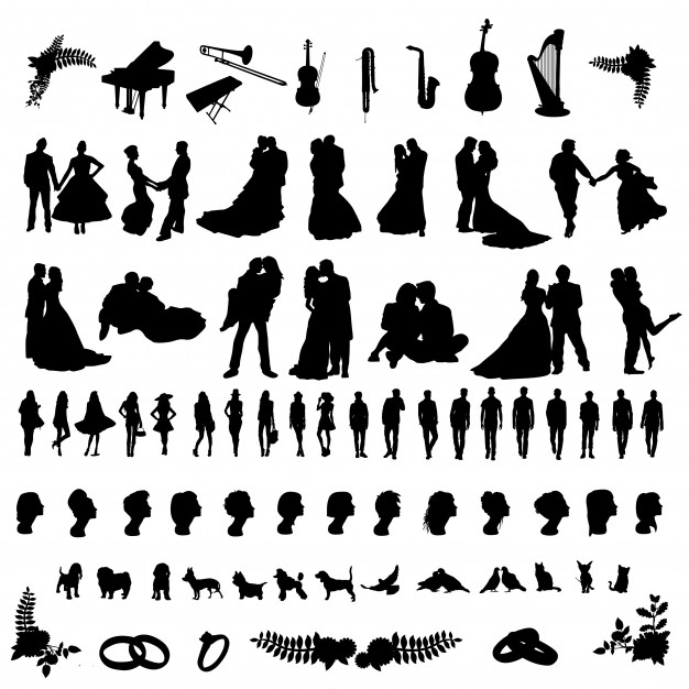 Wedding party people silhouette clip art Vector.