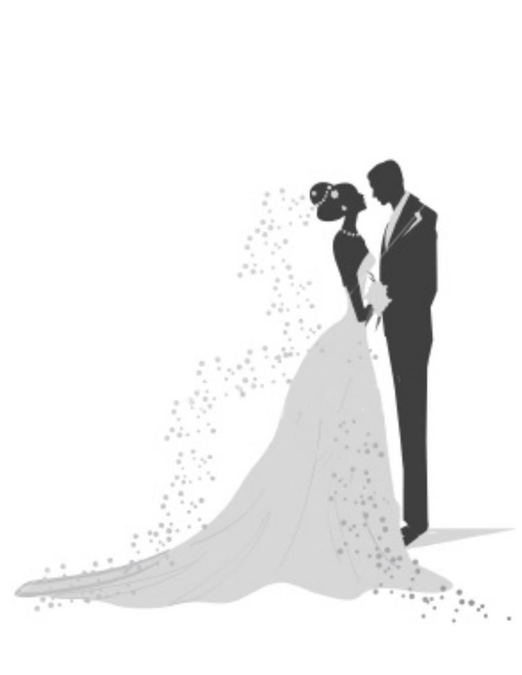 vintage bride and groom silhouette.