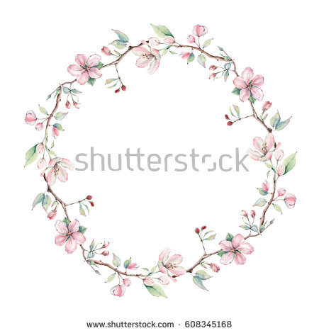 Sakura Wreath Stock Images, Royalty.