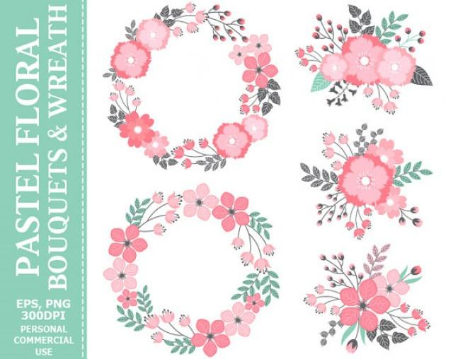 BUY 2 GET 1 FREE! Digital Pastel Wreath & Bouquets Clip Art.
