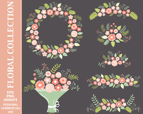 BUY 2 GET 1 FREE! Digital Pastel Floral Collection Clip Art.