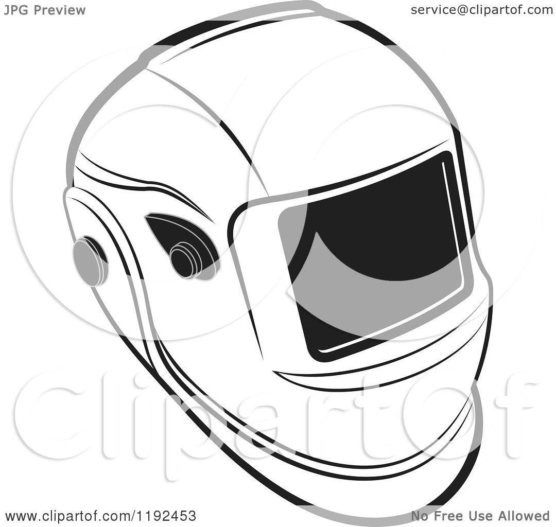Clipart of a Black and White Welding Helmet.