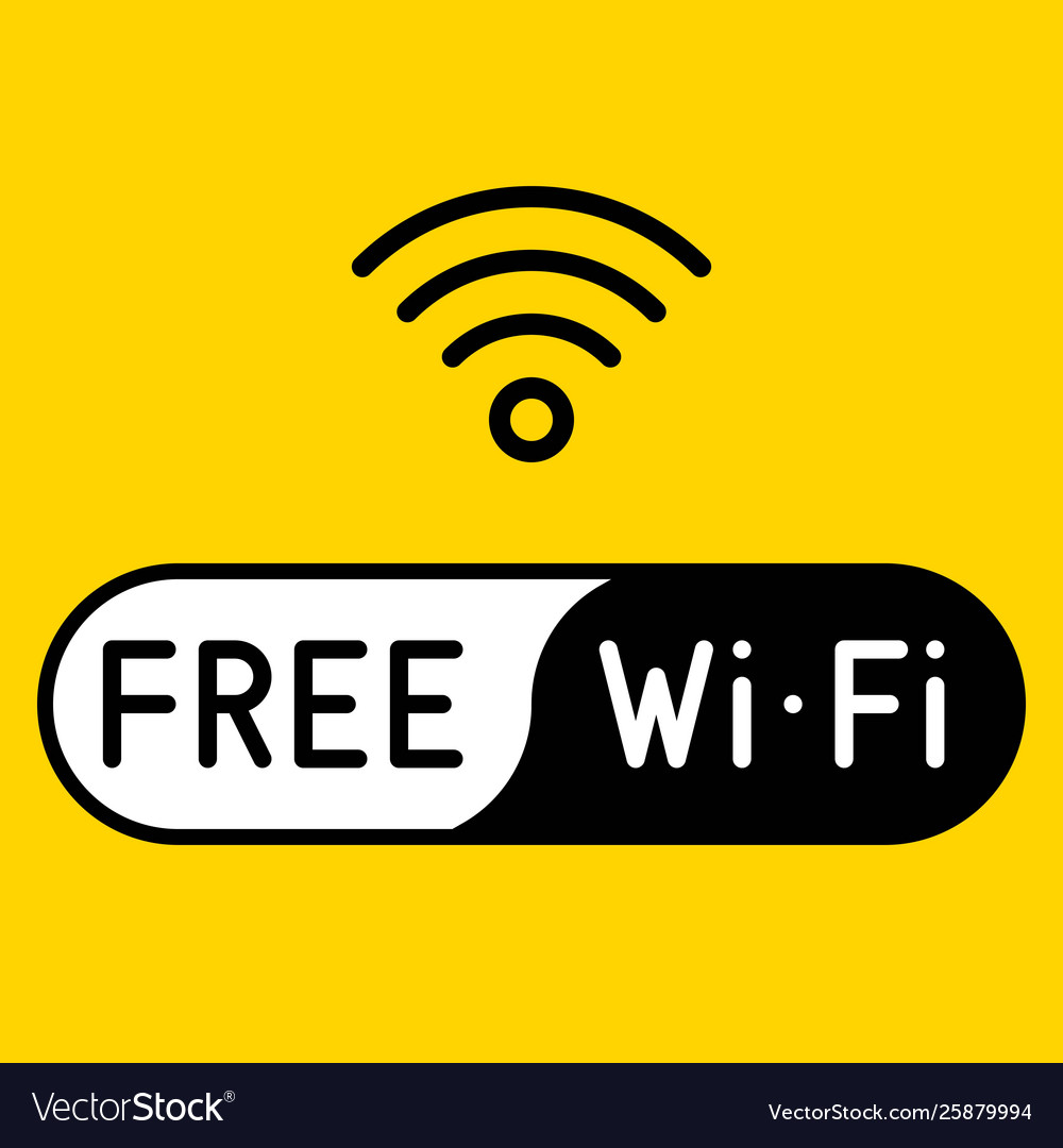 Free wifi logo icon on yellow background.