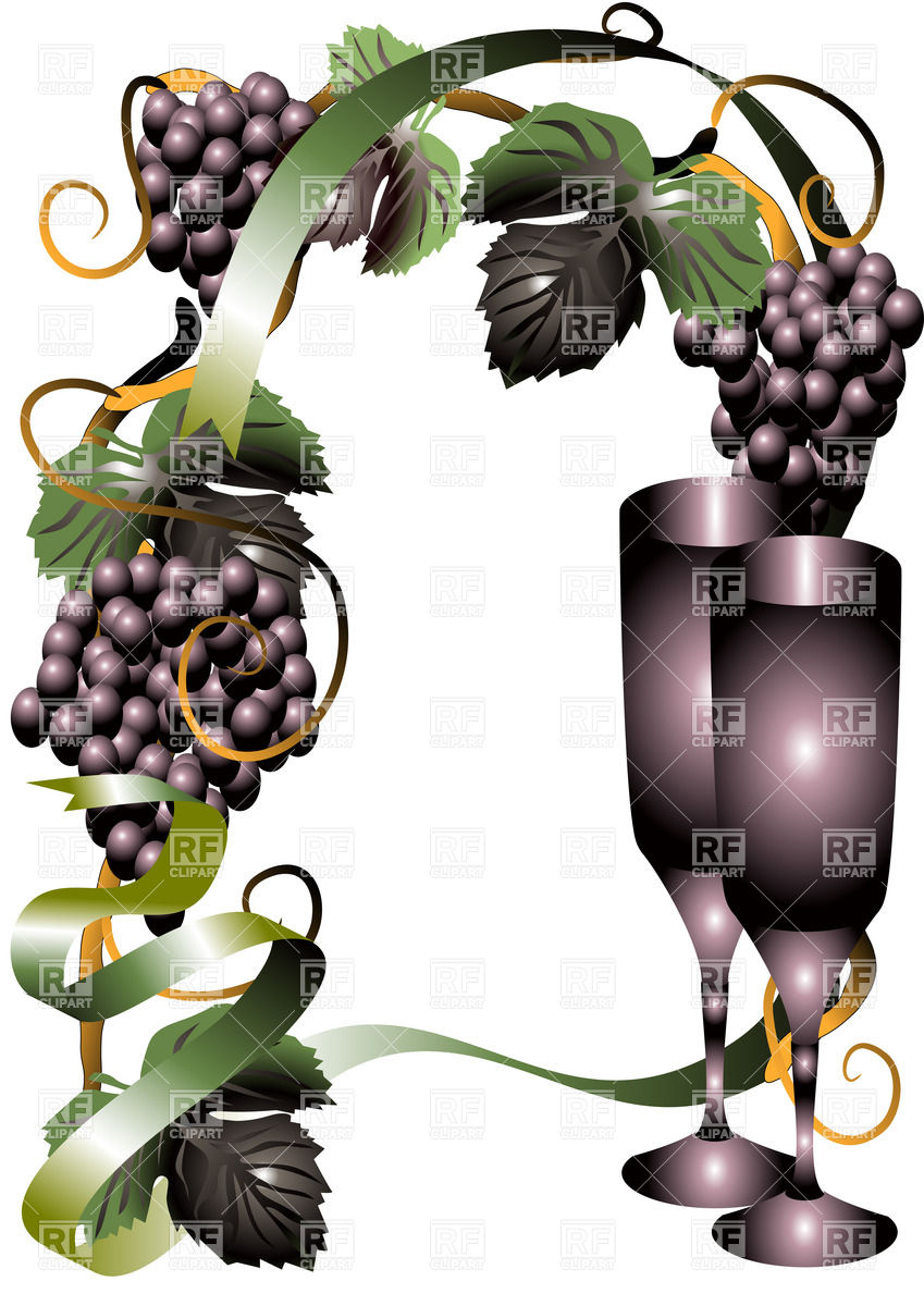 Wine glasses and grape Stock Vector Image.
