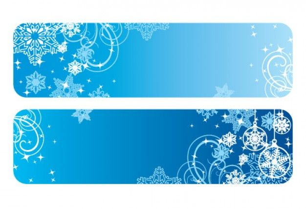 Winter Banners with snowflakes Free Vector.