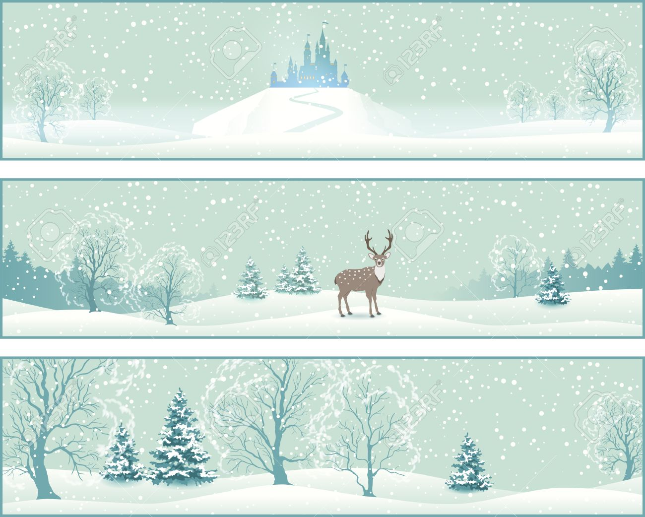 Winter Christmas Landscape Vector Banners with snow covered hills,...