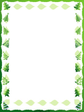 This free, printable, winter holiday border features green Christmas.