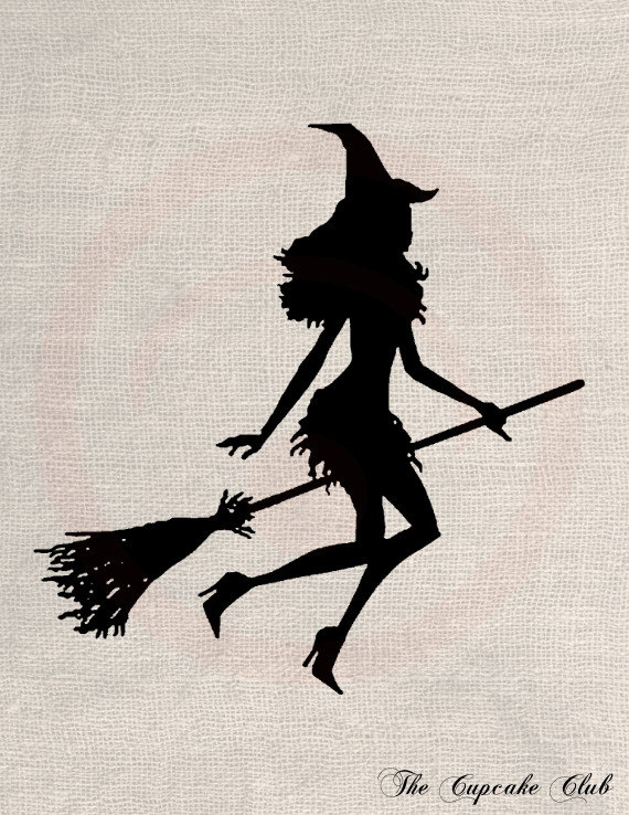 Sexy Witch Silhouette Clipart.