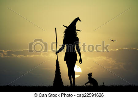 Clip Art of witch silhouette at sunset.