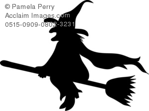 Silhouette Of A Halloween Witch Royalty