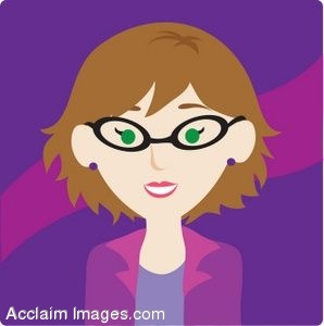 Showing post & media for Cartoon lady with glasses clip art.