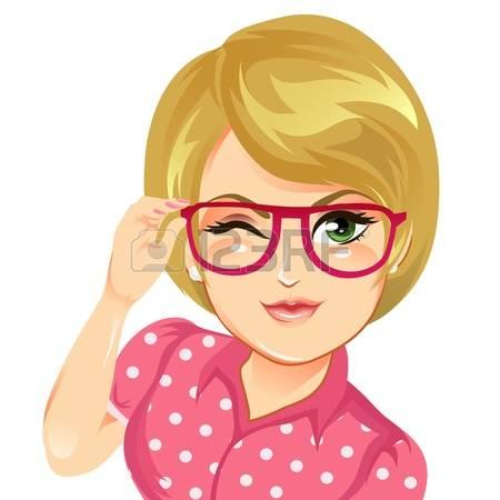 Cartoon Girl Face Cute Glasses