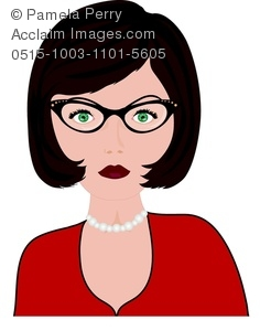 Clip Art Illustration of Secretary With Glasses.