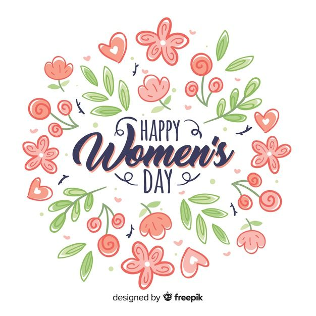 women\'s day free printable vector greeting card lettering.