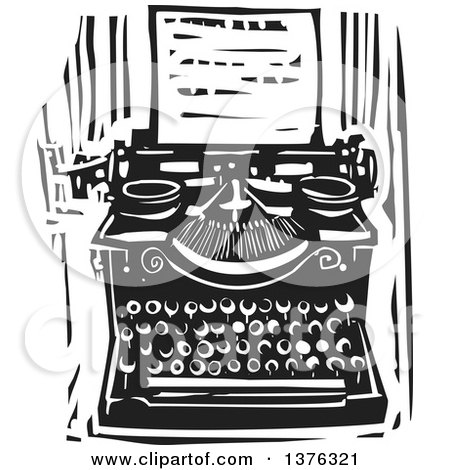 Clipart of a Black and White Woodcut Typewriter and Letter.