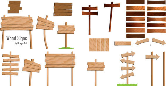 Free Vector Wood Sign Banners.