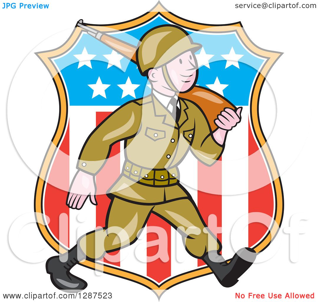 Clipart of a Cartoon World War II Soldier Marching with a Rifle.