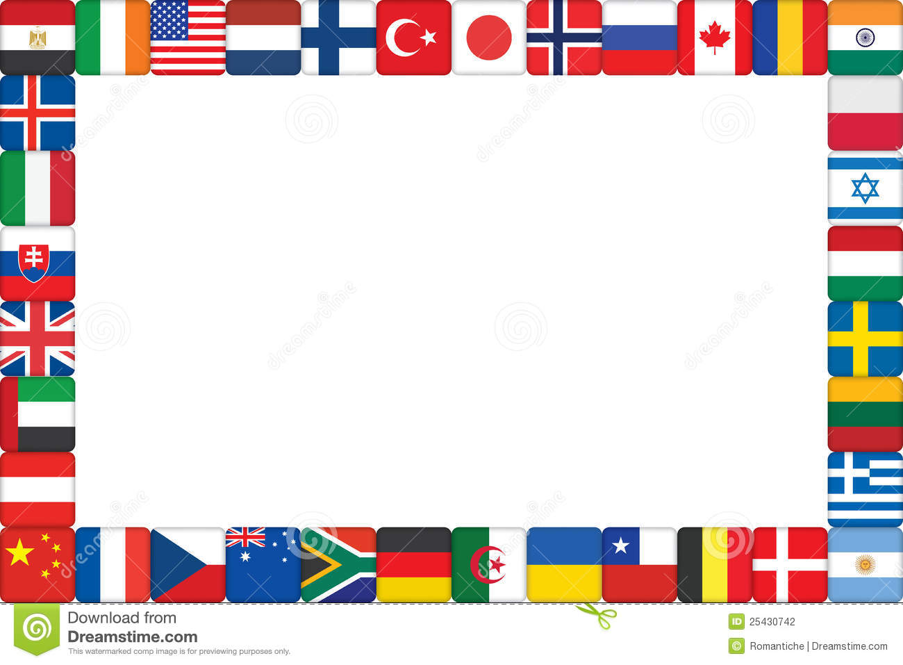 Frame Made Of World Flag Icons Stock Vector.
