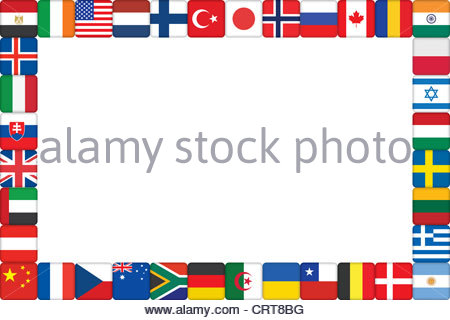 background with world flag icons frame Stock Photo, Royalty Free.