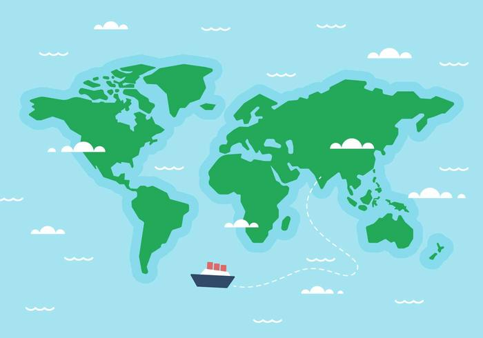 Free World Map Ship Vector.
