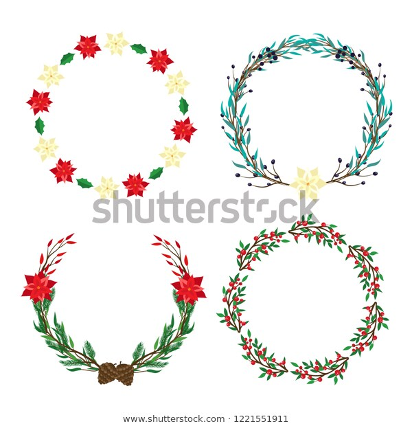 Christmas Wreath Clipart Frame Poinsettia Leaves Stock Vector.
