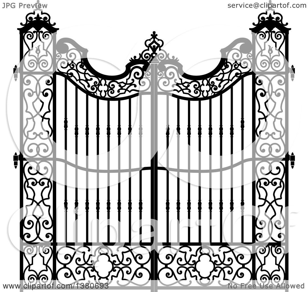 Clipart of a Vintage Black and White Ornate Wrought Iron Gate.