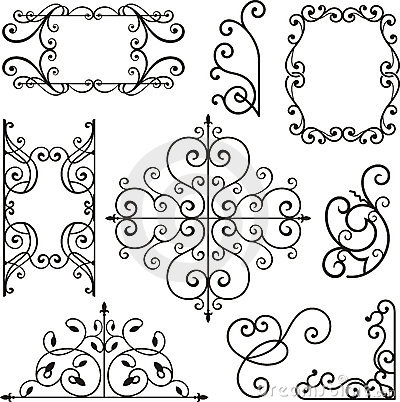 Wrought iron ornaments.