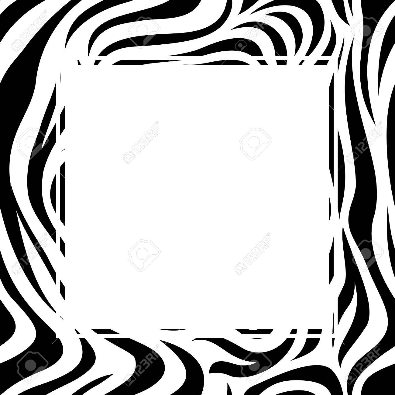 Zebra print border design. Animal skin texture. Black and white...