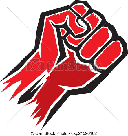 Vector Clipart of freedom concept. vector red fist icon..