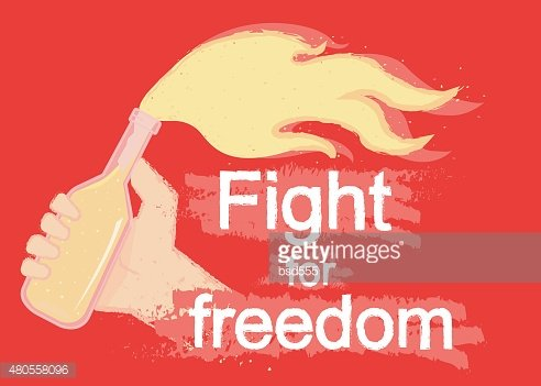 Fight for freedom logo on black Clipart Image.