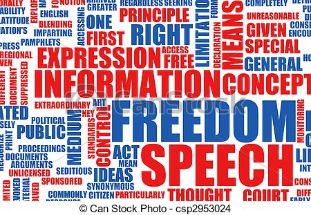 Drawing of Freedom of Speech Concept in the Free World csp2953024.