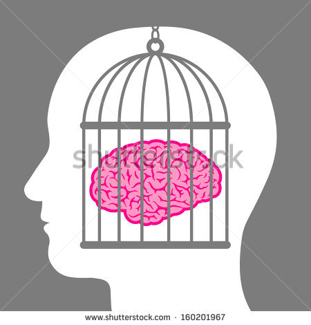 Head Cage Inside Silhouetted Head Showing Stock Vector 160202096.