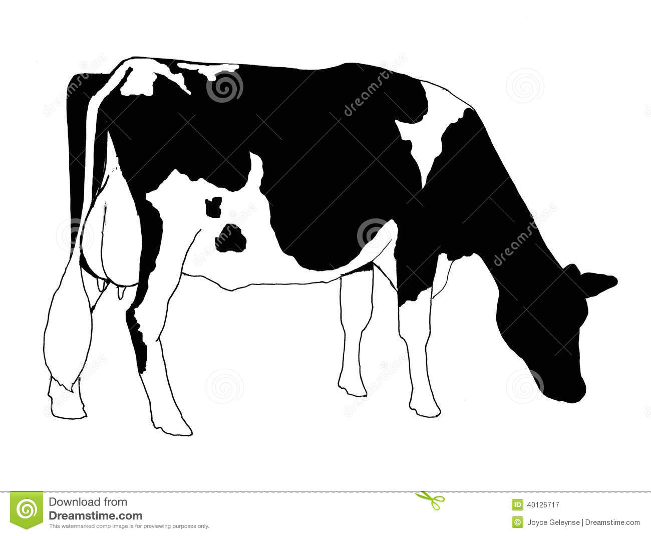 Freehand Clip Art Of Holstein Cow Stock Illustration.