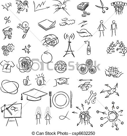 Vector Clipart of Freehand elements for design. Vector.