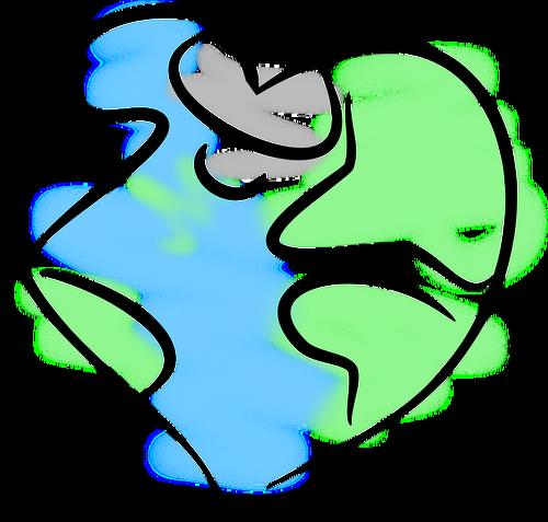 Earth heart vector image.