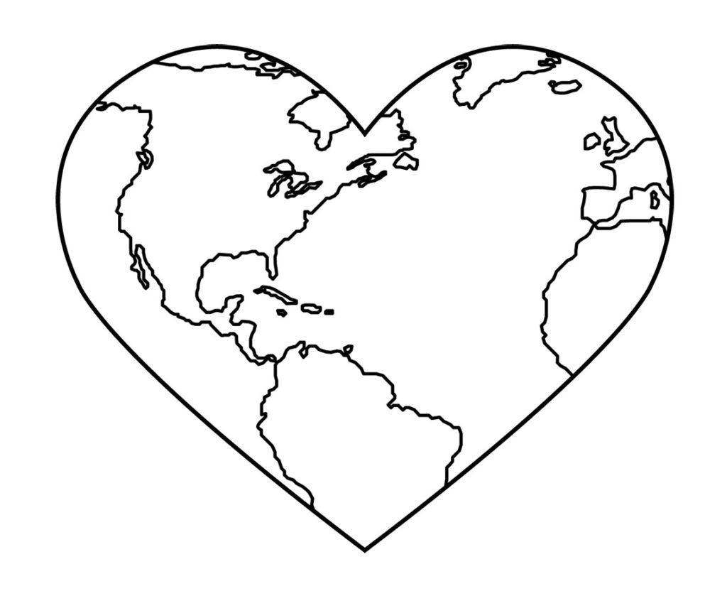 New Coloring Page: Heart Shaped World Heart Shaped World, heart.