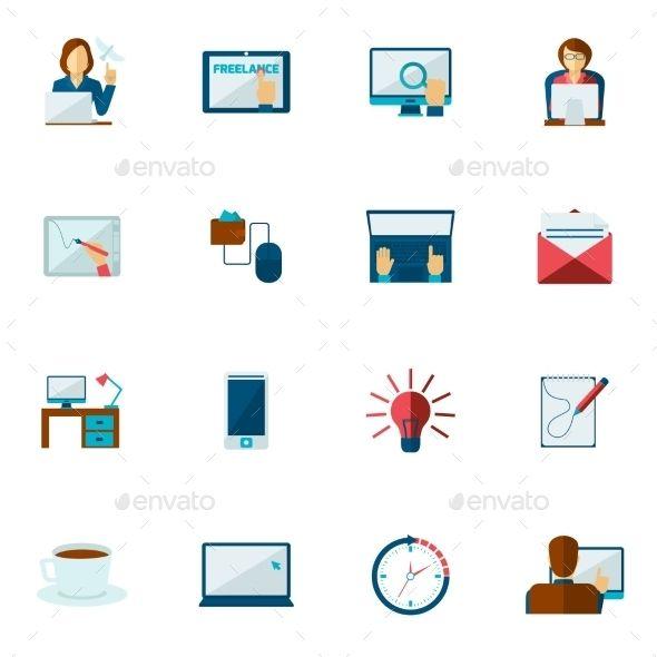 Freelance icon flat set with freelancer creative people.
