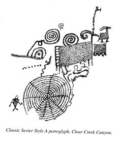 "Dancing Family"" petroglyph at Fremont Indian State Park, Utah."