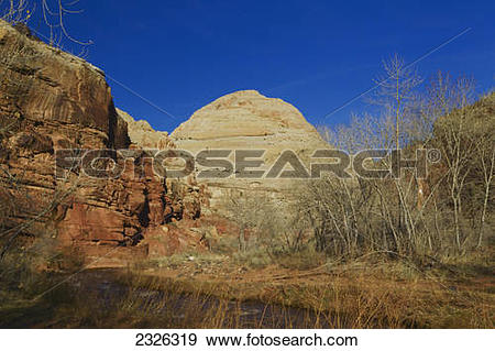 Stock Photograph of Capitol Dome & Freemont River, Capitol Reef.