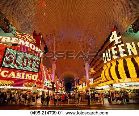 Stock Photography of Nevada, Las Vegas, Freemont Street, Night.