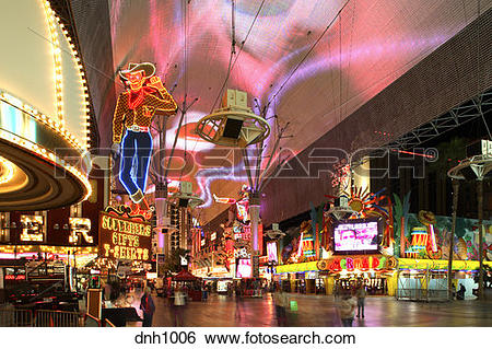 Stock Images of Freemont street, Downtown Las Vegas, Nevada.