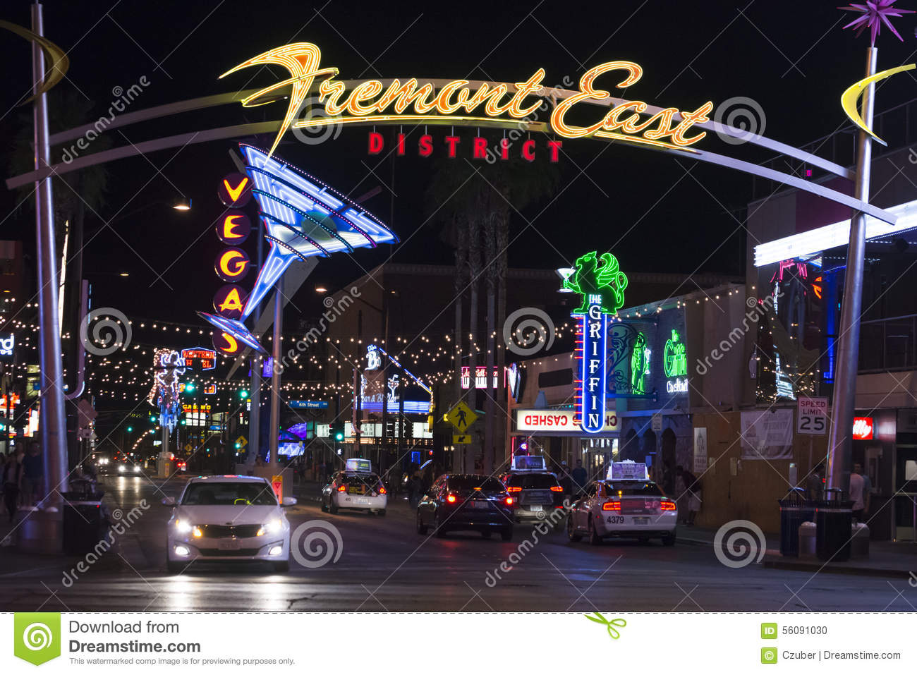 Fremont East District In Las Vegas Editorial Image.