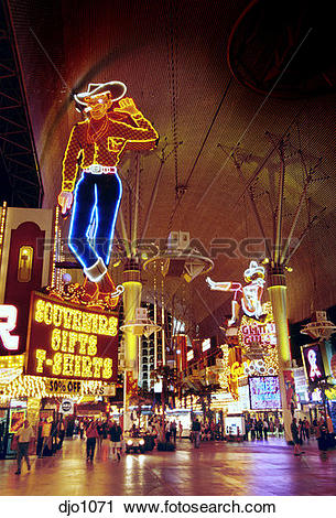 """Stock Photography of The famous """"Vegas Vic"""" neon cowboy stands."""